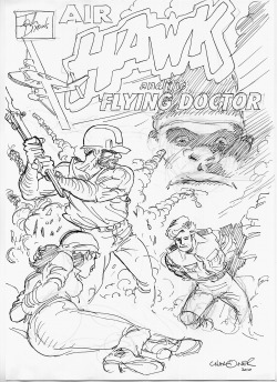 Early sketch rough of cover artwork for John Dixon's AIr Hawk and the Flying Doctor (Volume 3 by Gary Chaloner).